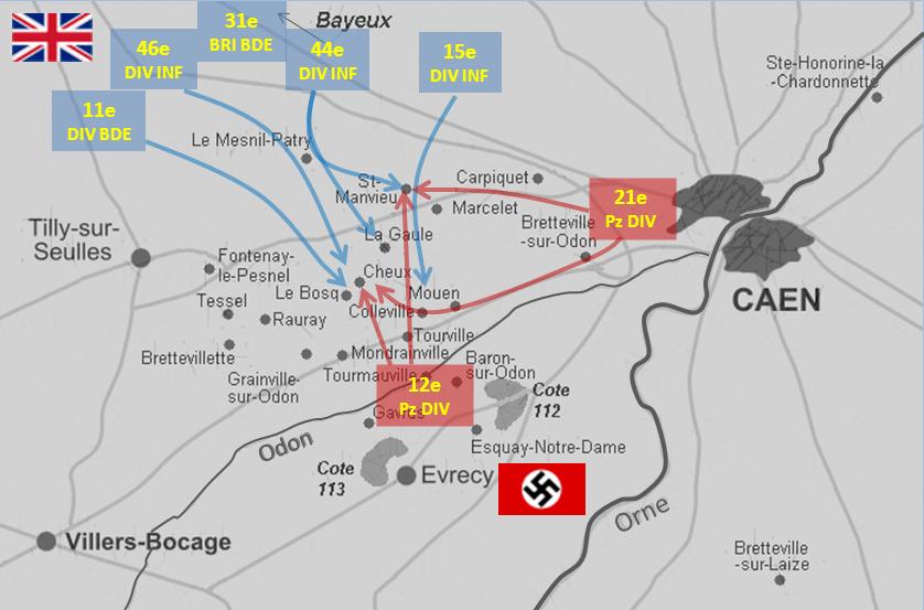 Mapa de la Batalla de Caen