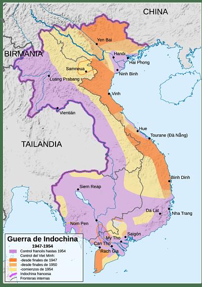 Mapa de la Indochina francesa 1947 - 1954