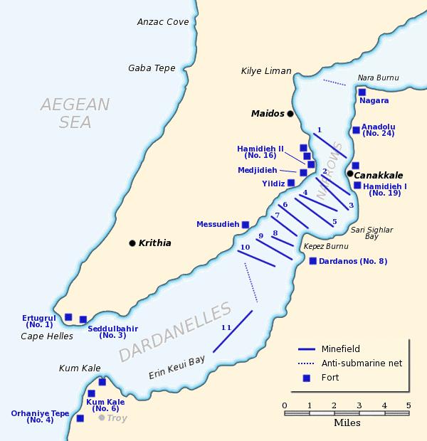 Mapa del paso de los Dardanelos