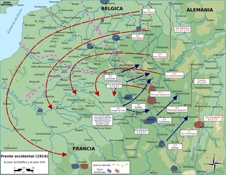 El plan Schlieffen y el plan 17