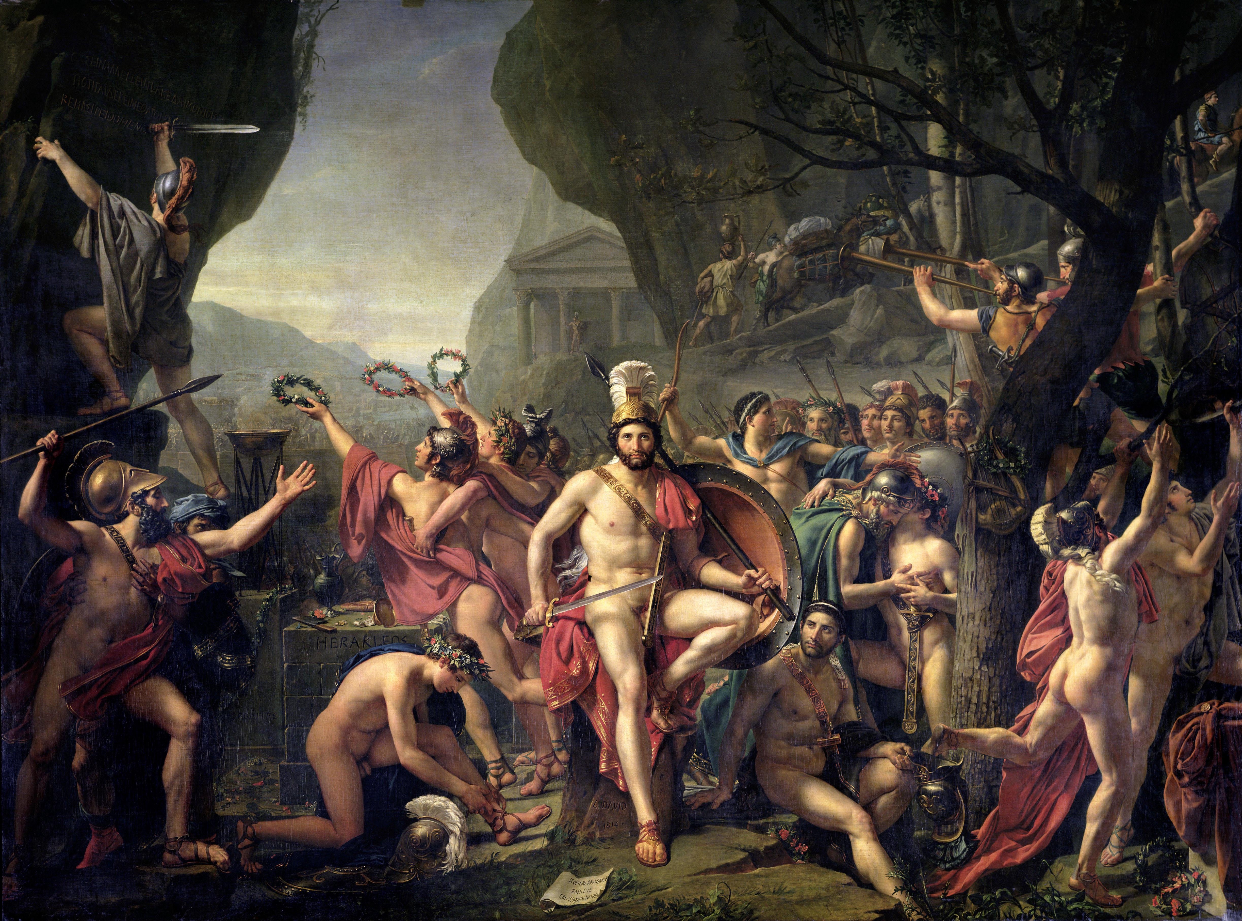 ÓLeo de Jacques Louis David. Leónidas en las Termópilas