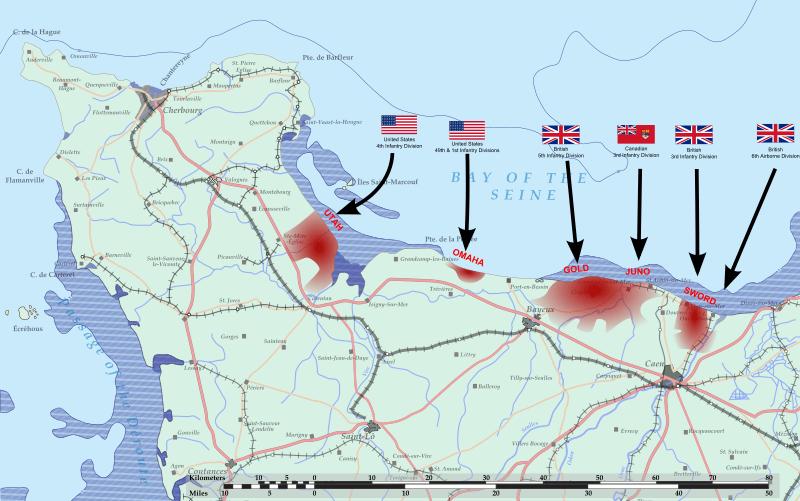 Mapa desembarco de normandia