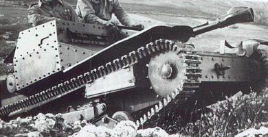 Tanque en batalla del Ebro en la guerra civil española 1938