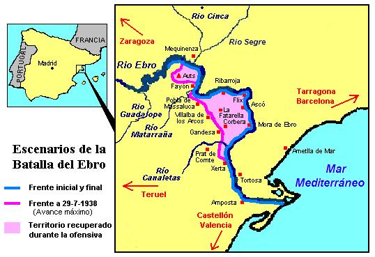 Mapa de la batalla del Ebro en 1938