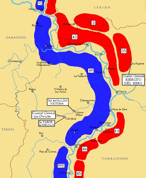 mapa de la batalla del ebro guerra civil española