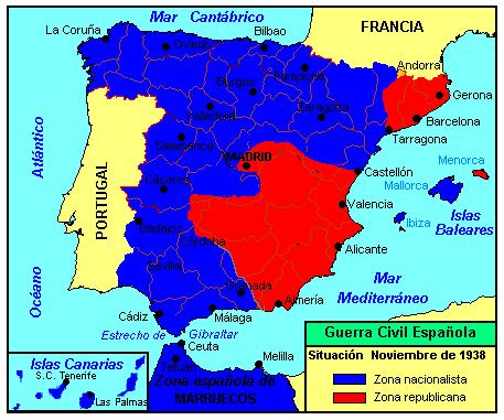 mapa guerra civil española 1938