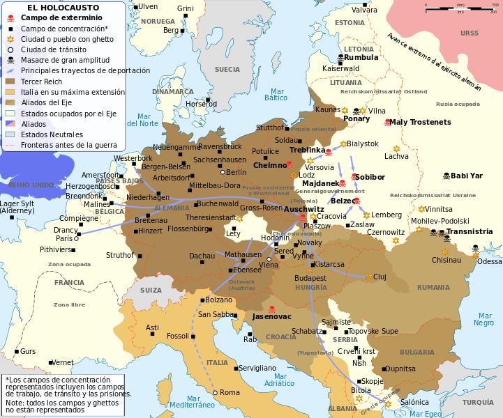 Mapa de los campos de concentración de Europa en la Segunda Guerra Mundial