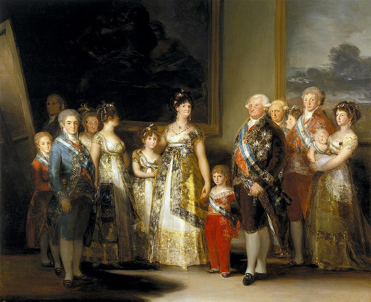 La familia de Carlos IV. Pintura de Goya