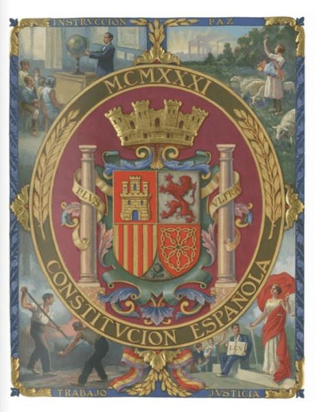 Portada de la Constitución de 1931. Segunda República. Causas que provocaron la guerra civil española.