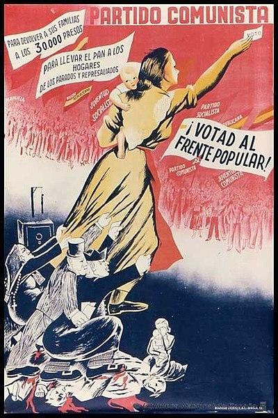 Cartel de propaganda comunista para votar al Frente Popular. Causas de la guerra civil en España
