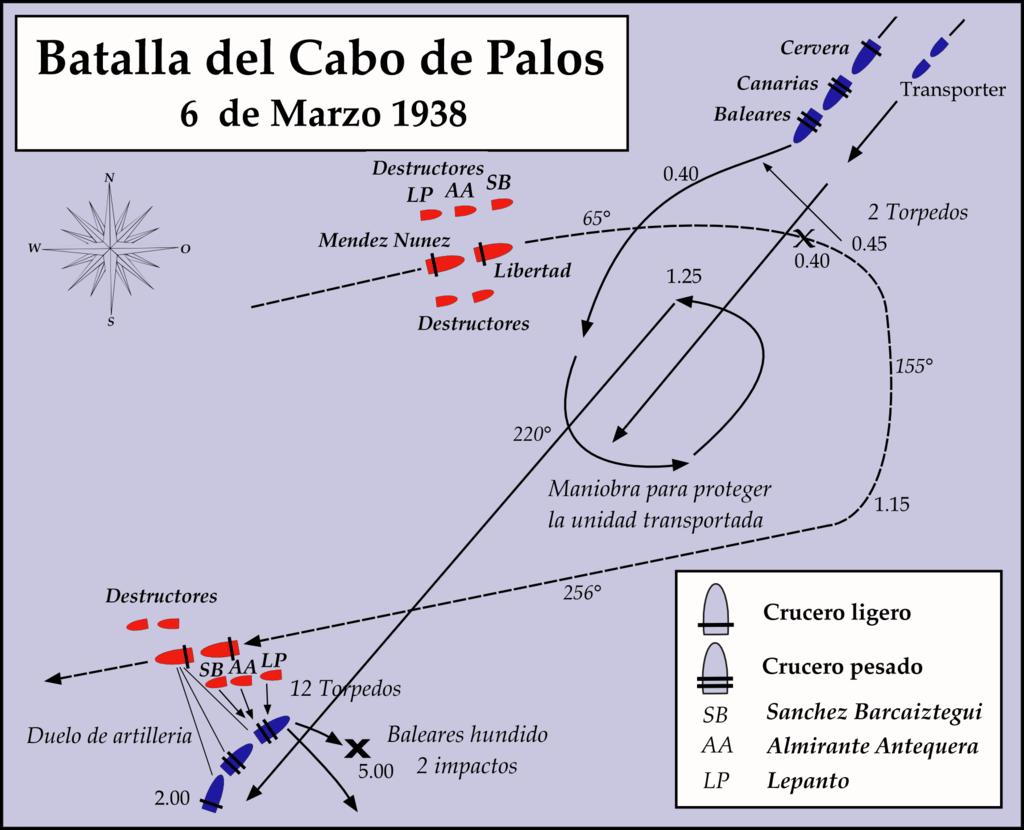 Mapa de la batalla naval de Cabo Palos