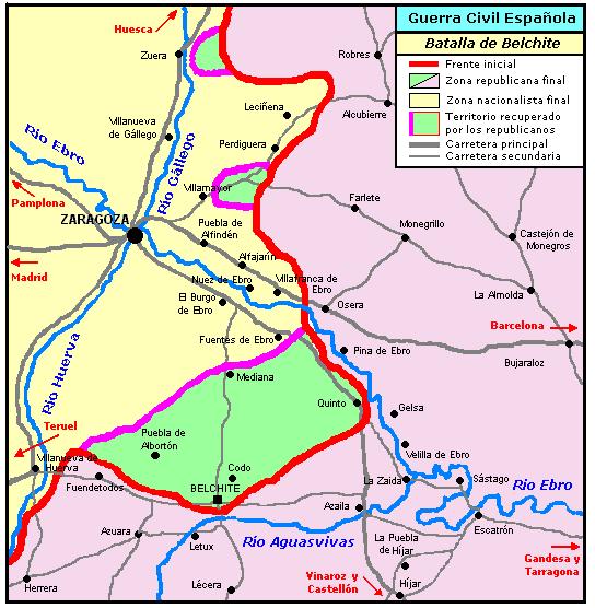 Mapa de la batalla de Belchite en la Guerra Civil
