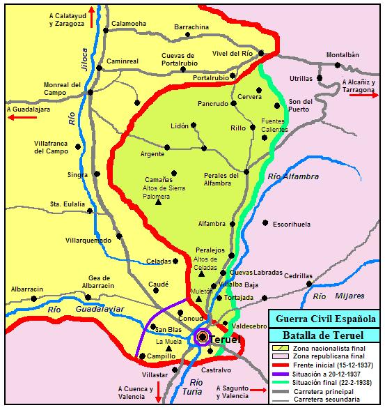 Mapa de la batalla de Teruel