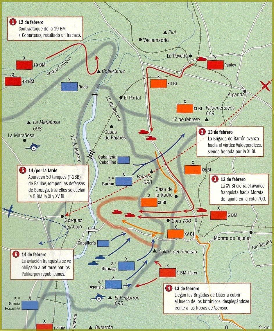 Mapa de la batalla del Jarama en 1937