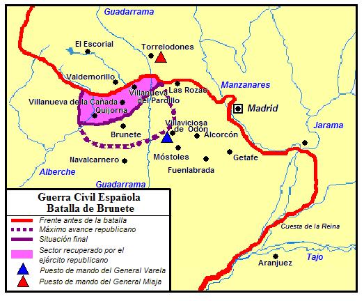 Mapa de la batalla de Brunete