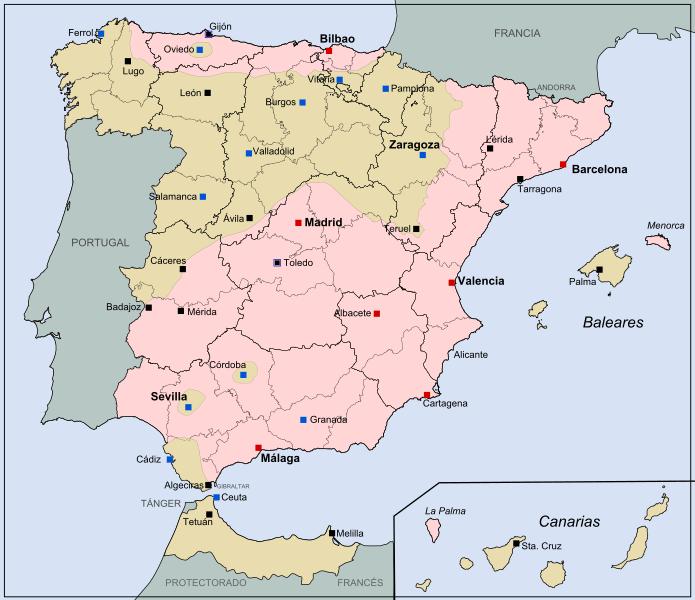 Mapa del alzamiento militar en julio de 1936 en la guerra civil española