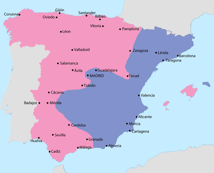 Mapa de la España en guerra civil en 1938