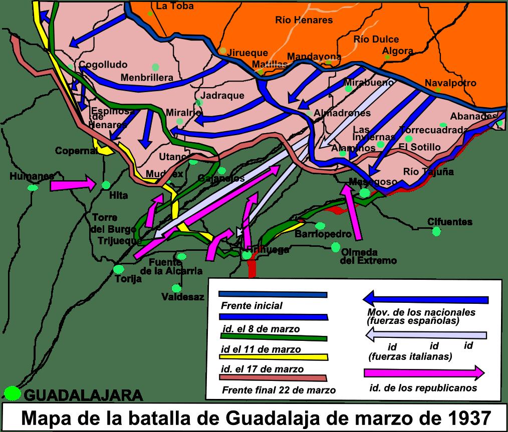 Mapa de la batalla de Guadalajara