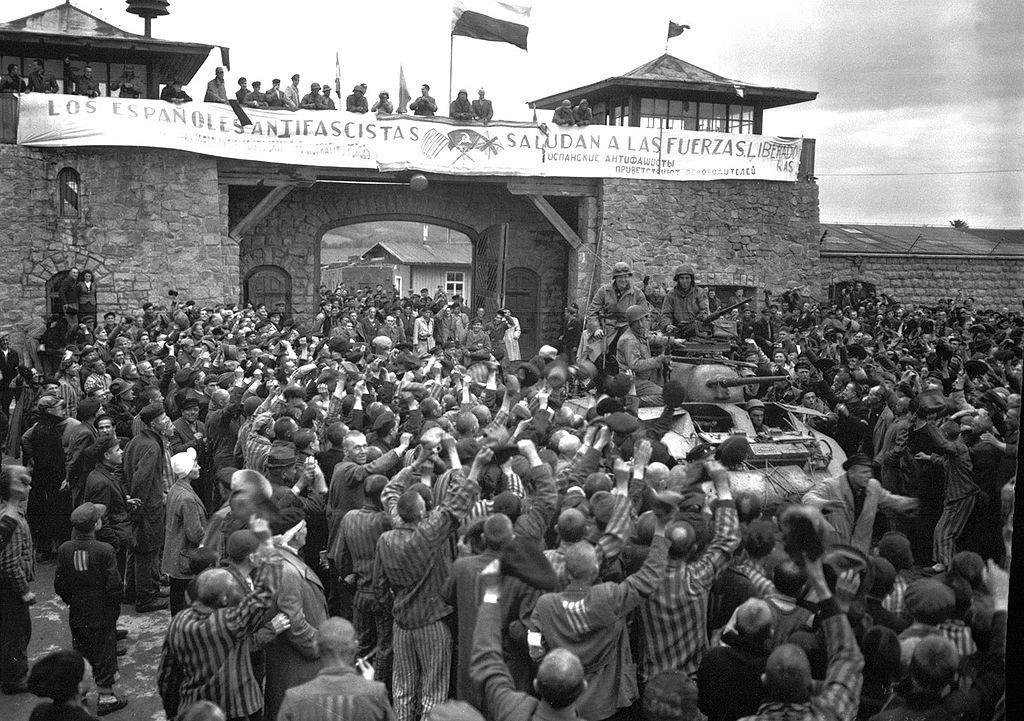 Pancarta de republicanos en el campo de concentración de Mauthausen