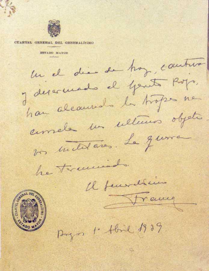 Último parte de la guerra civil española redactado por Franco