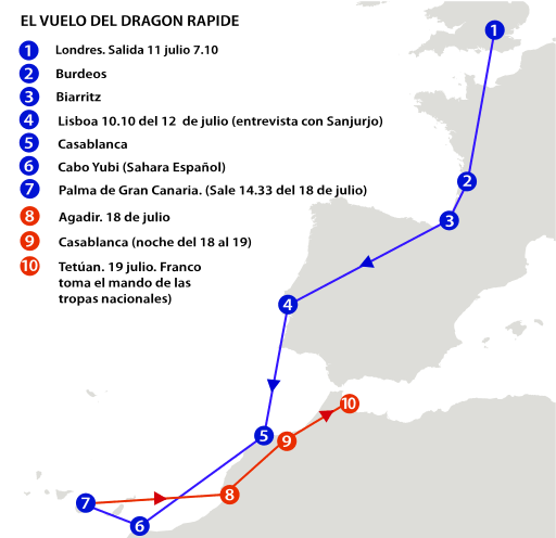 Mapa del vuelo del Dragon Rapide donde viajó Franco