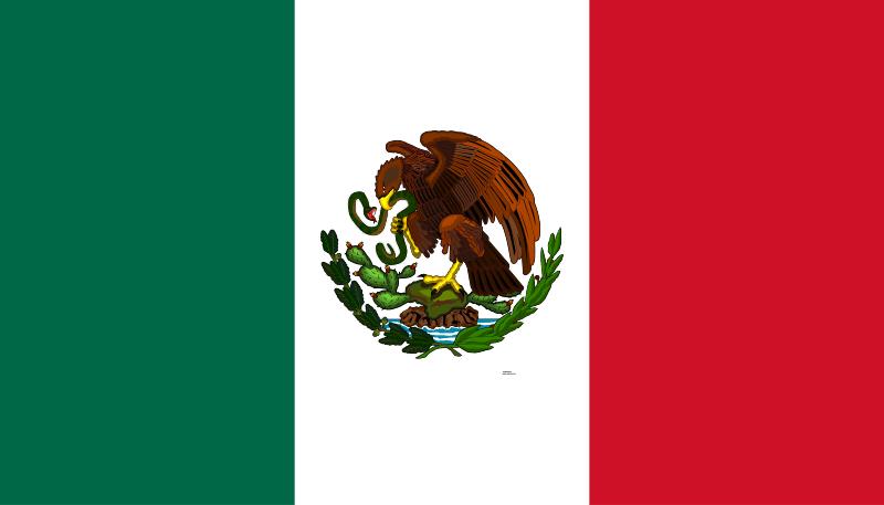 Bandera de México, país aliado de la República en la guerra civil española