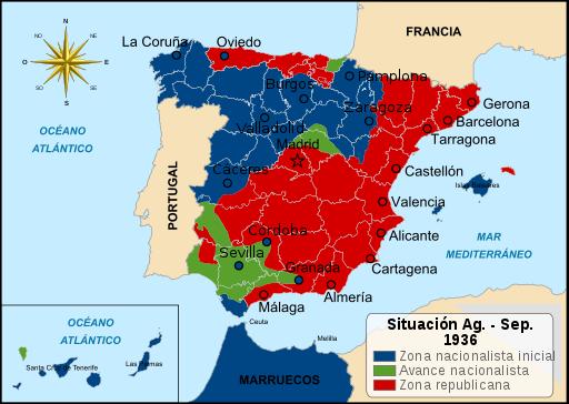 Mapa del avance del ejército de Franco durante 1936. Guerra Civil Española