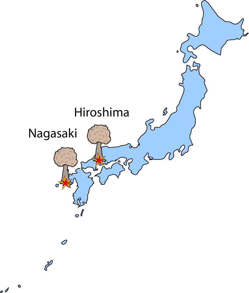 Mapa de Japón con las ciudades de Hiroshima y Nagasaki