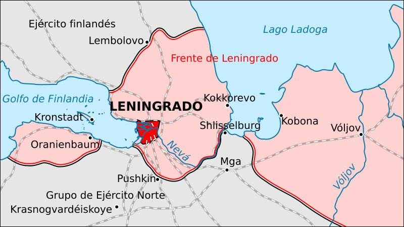 Mapa del asedio a Leningrado