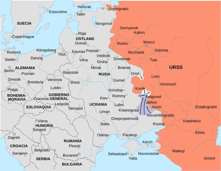 Mapa del Frente Oriental en 1943 en la Segunda Guerra Mundial