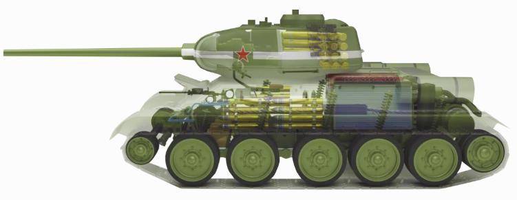 Interior del tanque T-34 ruso