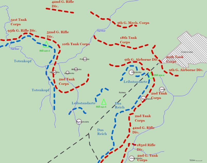 Mapa de la batalla de Prokhorovka
