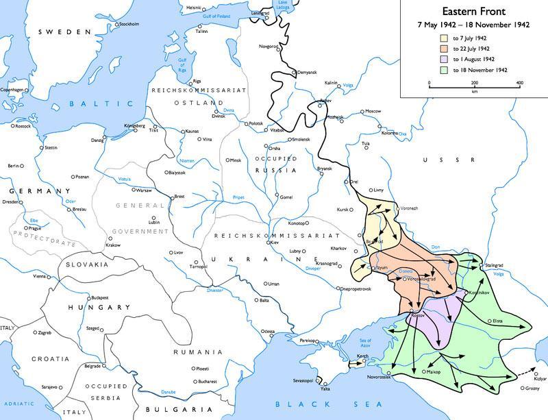 Mapa avance alemán hacia Stalingrado en la Segunda Guerra Mundial