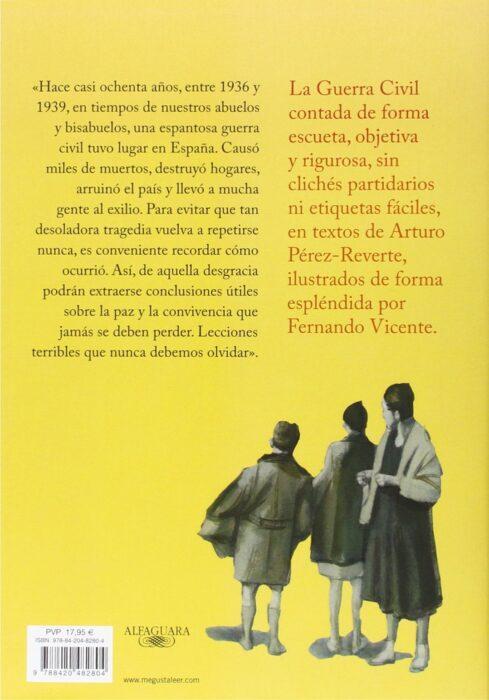 Contraportada del libro La Guerra Civil contada a los jóvenes, de Pérez-Reverte